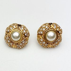 Vintage Swarovski Earrings Crystals Gold Post